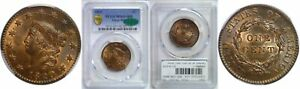 1820 LARGE CENT PCGS MS 65  RB CAC LARGE DATE