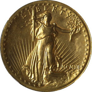 1907 SAINT GAUDENS GOLD $20 HIGH RELIEF WIRE RIM NGC MS63 GREAT EYE APPEAL