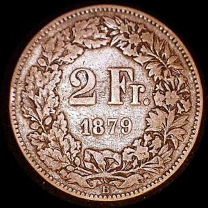 Click now to see the BUY IT NOW Price! SWITZERLAND 1879 2 FRANC OLD SILVER WORLD COIN