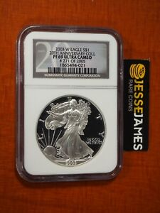 2003 W PROOF SILVER EAGLE NGC PF69 ULTRA CAMEO '20TH ANN COLLECTION' BLACK LABEL