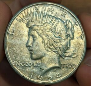 1924 S PEACE SILVER DOLLAR $1 COIN   UNC UNCIRCULATED DETAILS    KEY DATE