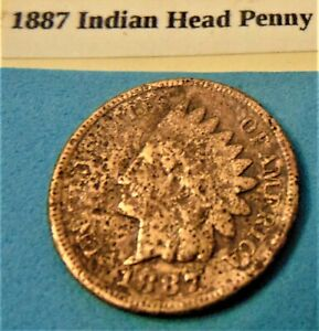 1887 INDIAN HEAD CENT PENNY 42 GOOD COPPER COIN