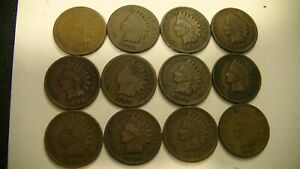 12 INDIAN HEAD CENTS 1883 1888 1891 1897 1898 1899 1900 1901 1902 1903 1906 1907