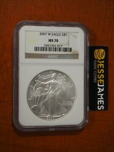2007 W BURNISHED SILVER EAGLE NGC MS70 CLASSIC BROWN LABEL
