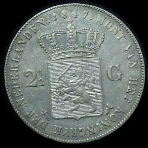 Click now to see the BUY IT NOW Price! NETHERLANDS 1847 2 1/2 GULDEN OLD WORLD SILVER COIN HIGH GRADE