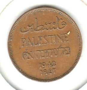 KAPPYSCOINS  W6944 PALESTINE 1942  1 ONE MILS  NICE BROWN CH EF XF OR BETTER