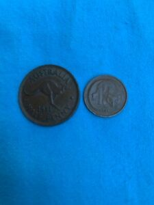 AUSTRALIA HALF PENNY  1951 AND ONE CENT 1973
