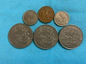 NEW ZEALAND 50 CENTS X 3  1967  5 CENTS X 2  1969 AND 1972  AND 2 CENTS  1971