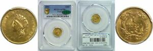 1854 TYPE 2 $1 GOLD COIN PCGS AU 58 CAC