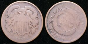 1864  TWO CENT PIECE   ROTATED REVERSE ERROR