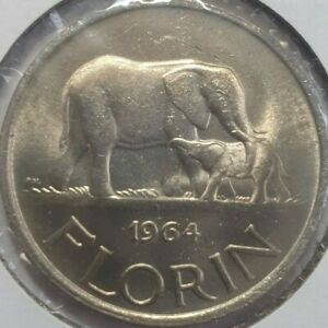 1964 MALAWI 1 FLORIN COIN UNCIRCULATED ELEPHANT SINGLE YEAR ISSUE