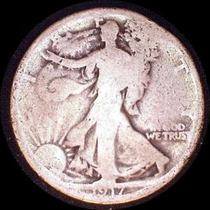 Click now to see the BUY IT NOW Price! USA 1917 S WALKING LIBERTY 50 CENT SILVER COIN RIM NICK