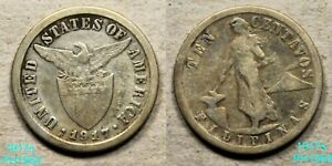 PHILIPPINES 10 CENTAVOS 1917 S CIRCULATED 75  SILVER  IN U. S.