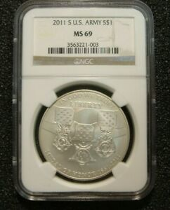 2011 S UNCIRCULATED MEDAL OF HONOR SILVER DOLLAR NGC MS69 ERROR