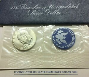 1974 S EISENHOWER SILVER DOLLAR IN BLUE PACK   GET WHAT U C   SHIPS FREE