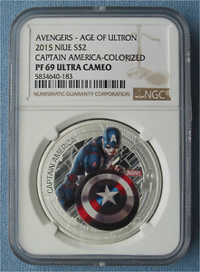 2015 AVENGERS CAPTAIN AMERICA COLORIZED 1 OZ SILVER COIN NIUE $2 NGC PF 69 UCAM