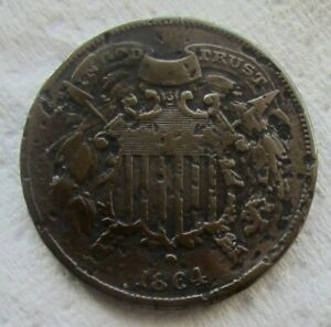1864 SMALL MOTTO 2 CENT PIECE  KEY DATE VF DETAIL PITTED SURFACES