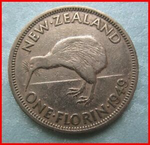 NEW ZEALAND 1949 2 SHILLING 2/  COIN REF 50