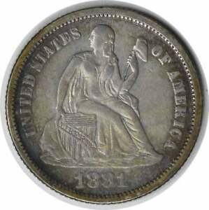 1881 LIBERTY SEATED SILVER DIME EF UNCERTIFIED 125