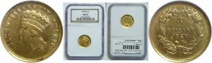 Click now to see the BUY IT NOW Price! 1854 D $3 GOLD COIN NGC AU 55