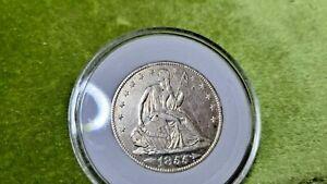 1855  O SEATED LIBERTY HALF DOLLAR   90 SILVER CONTENT