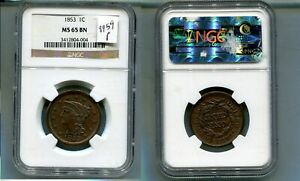 1853 BRAIDED HAIR LARGE CENT TYPE COIN NGC MS65 BN 8959P