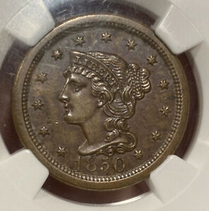 1850 LARGE CENT NGC MS61BN
