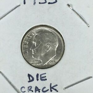 1955 ROOSEVELT SILVER DIME DIE CRACK FACE ERROR 90  SILVER UNCIRCULATED US COIN