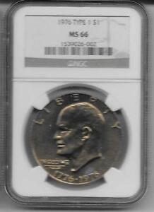 Click now to see the BUY IT NOW Price! 1976 P T 1  EISENHOWER S$1 NGC MS 66   KEY DATE COIN REGISTRY OPEN HOLDER
