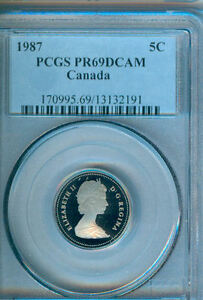 Click now to see the BUY IT NOW Price! 1987  CANADA  FIVE CENTS  PCGS PR69DCAM