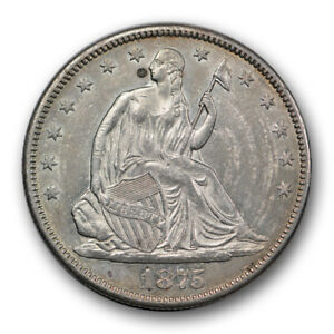 Click now to see the BUY IT NOW Price! 1875 CC 50C LIBERTY SEATED HALF DOLLAR ABOUT UNCIRCULATED TO MINT STATE R342