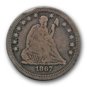 Click now to see the BUY IT NOW Price! 1867 25C LIBERTY SEATED QUARTER FINE TO FINE PHILADELPHIA P MINT R464