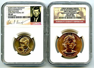 Click now to see the BUY IT NOW Price! 2015 KENNEDY NGC MS68 RD FIRST SPOUSE DOLLAR COIN & MEDAL SET FIRST RELEASES JP7