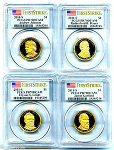 Click now to see the BUY IT NOW Price! 2011 S JOHNSON HAYES GARFIELD GRANT DOLLAR SET PCGS PR70 DCAM FIRST STRIKE PROOF