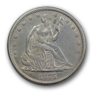 Click now to see the BUY IT NOW Price! 1875 CC 50C LIBERTY SEATED HALF DOLLAR ABOUT UNCIRCULATED AU CARSON CITY R943