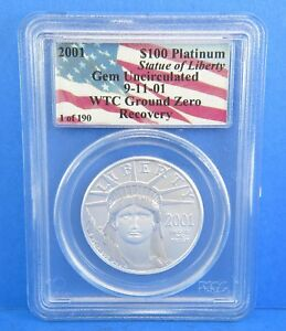 Click now to see the BUY IT NOW Price! 2001 1 OF 190 $100 PLATINUM 1 TROY OUNCE WORLD TRADE CENTER PCGS GEM UNC COIN