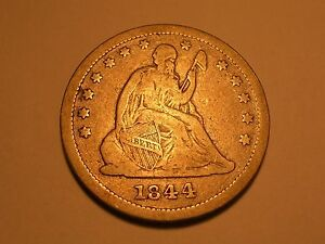 1844 SEATED LIBERTY QUARTER  FINE REV. DIE CRACKS & ATTRACTIVE