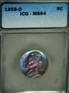 Click now to see the BUY IT NOW Price! MONSTER RAINBOW TONED 1958 D JEFFERSON NICKEL ICG MS64 REDUCED 4/19/17   3110