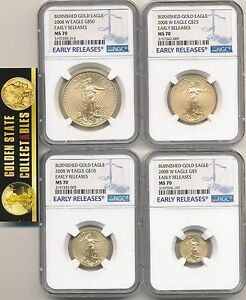 Click now to see the BUY IT NOW Price! 2008 W 4 COIN BURNISHED GOLD SET NGC MS70 EARLY RELEASES BLUE E.R.LABELS  OGP