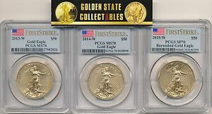 Click now to see the BUY IT NOW Price! 2013 W 2014W 2015 W $50 BURNISHED GOLD EAGLES PCGS SP70 FIRST STRIKES 3 COINS