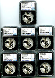 Click now to see the BUY IT NOW Price! 2017 $5 CANADA 1OZ SILVER LYNX NGC MS70  FIRST RELEASE COMPLETE SET LOT OF 7