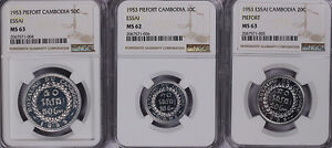 Click now to see the BUY IT NOW Price! NGC MS63/62  1953  CAMBODIA 50 10 20C PIEFORT SET