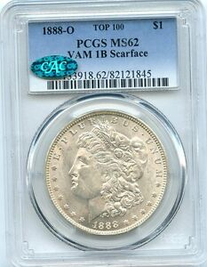 Click now to see the BUY IT NOW Price! C8630  1888 O VAM 1B SCARFACE TOP 100 MORGAN DOLLAR PCGS MS62 CAC