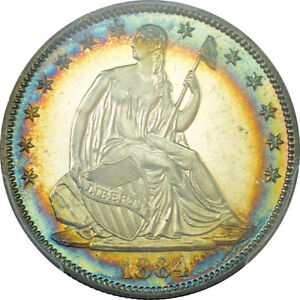 Click now to see the BUY IT NOW Price! C9205  1884 PROOF SEATED LIBERTY HALF DOLLAR PCGS PR64 CAMEO RAINBOW  875 MINTED