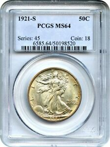 Click now to see the BUY IT NOW Price! 1921 S 50C PCGS MS64   KEY DATE   WALKING LIBERTY HALF DOLLAR   KEY DATE