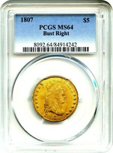 Click now to see the BUY IT NOW Price! 1807 $5 PCGS MS64  BUST FACING RIGHT  EARLY HALF EAGLE   GOLD COIN