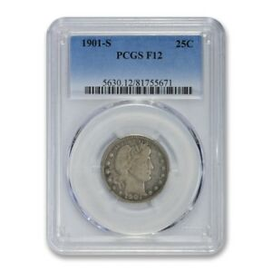 Click now to see the BUY IT NOW Price! 1901 S 25C BARBER QUARTER PCGS F 12 FINE LOOKS VF TOUGH DATE