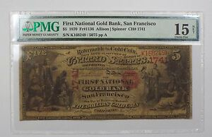 Click now to see the BUY IT NOW Price! CHARTER 1741 1870 $5 FIRST NAT GOLD BANK SF NOTE PMG 15 CH FINE NET  FR1136