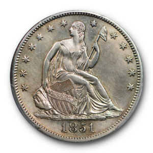 1851 50C LIBERTY SEATED HALF DOLLAR PCGS AU ABOUT UNCIRCULATED DETAILS KEY DATE