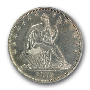 1879 50C LIBERTY SEATED HALF DOLLAR PCGS AU 55 ABOUT UNCIRCULATED KEY DATE